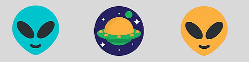 Banner mit Symbolen: zwei freundliche Alien-Gesichter und ein Plant