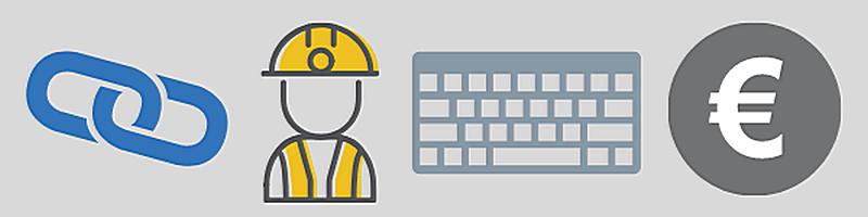 Banner mit Symbolen für Linktipp, Arbeit, Tastatur und Geld