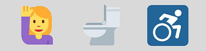 Infographic mit Symbolen: positiver Mensch, Toilette, Mensch im Rollstuhl