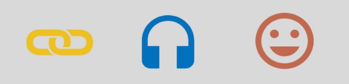 Banner mit Symbolen; Link, Kopfhörer und lachendes Gesicht (Smiley)
