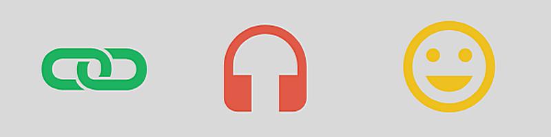 Banner mit Symbolen für Link, Kopfhörer und lachendes Gesicht (Smiley)