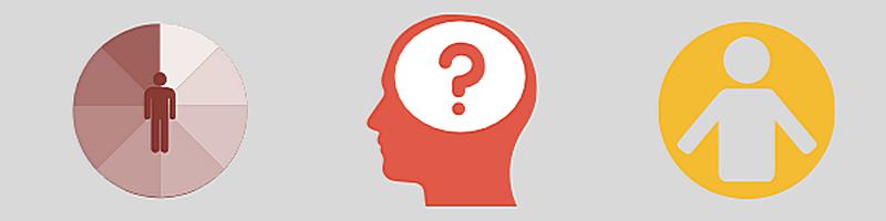 Banner mit Symbolen: Mensch im Kreis, Kopf mit Fragezeichen und erneut Mensch im Kreis