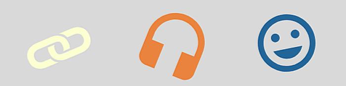 Banner mit Symbolen für Link, Kopfhörer, und lachendem Gesicht (Smiley)