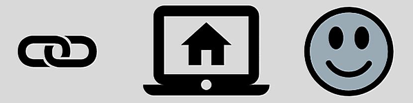 Banner mit Symbolen für Link, Computer mit Haus und lachendem Gesicht (Smiley)