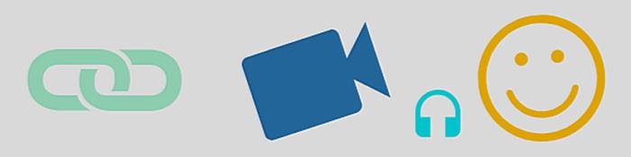 Banner mit Symbolen für Link, Video, Podcast und lachendes Gesicht (Smiley)