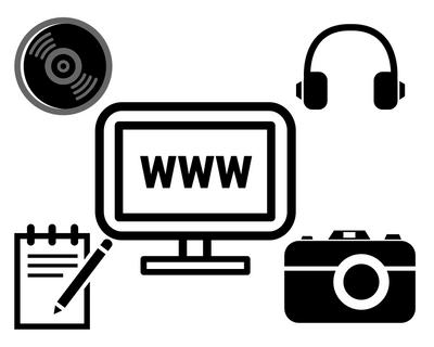 Grafik mit Symbolen für Computer und Text www, Kopfhörer, Kamera, Notizblock, CD