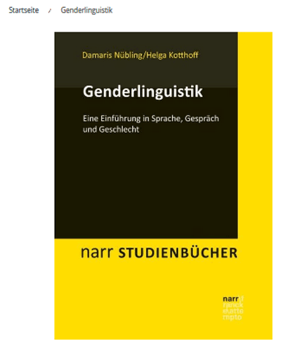 Screenshot mit Buch-Cover des Buchs Genderlinguistik