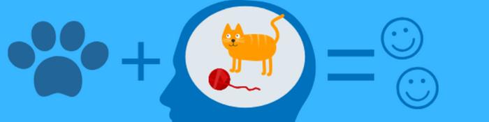 Banner mit Grafiken Katzenpfote, Gehirn mit Katze und lachenden Gesichtern